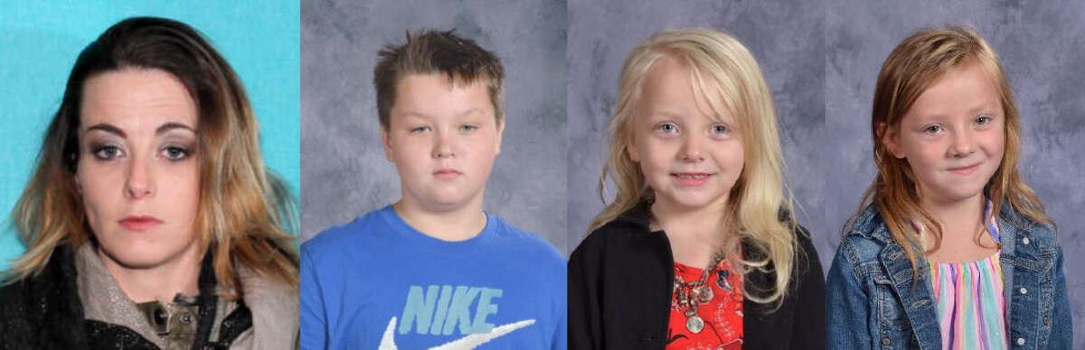Police are searching for Kimberly Berrentine, who they say fled with her four children on April 22. A court order to remove the children from her care was issued that day. One child was found on April 23 in Midland; three are still missing: Trevor Alan-Peter Edens, Tallyn Leigh Smith and Talissa Lynn Barrentine. (Courtesy photos)