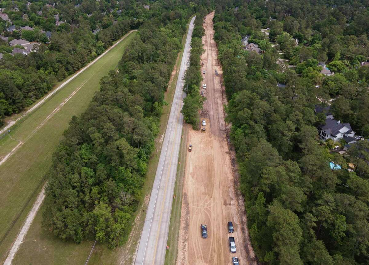 Construction continues along Kuykendahl Road to widen it from a two-lane half boulevard to a four-lane full boulevard from Lake Woodlands Drive to Research Forest Drive.