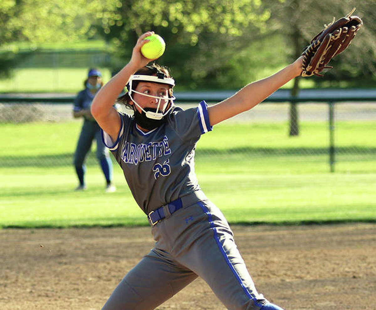 Marquette Catholic sophomore Lauren Lenihan, shown in a start earlier this season in Alton, threw her second one-hitter of the season Thursday in the Explorers' win over Breese Central.