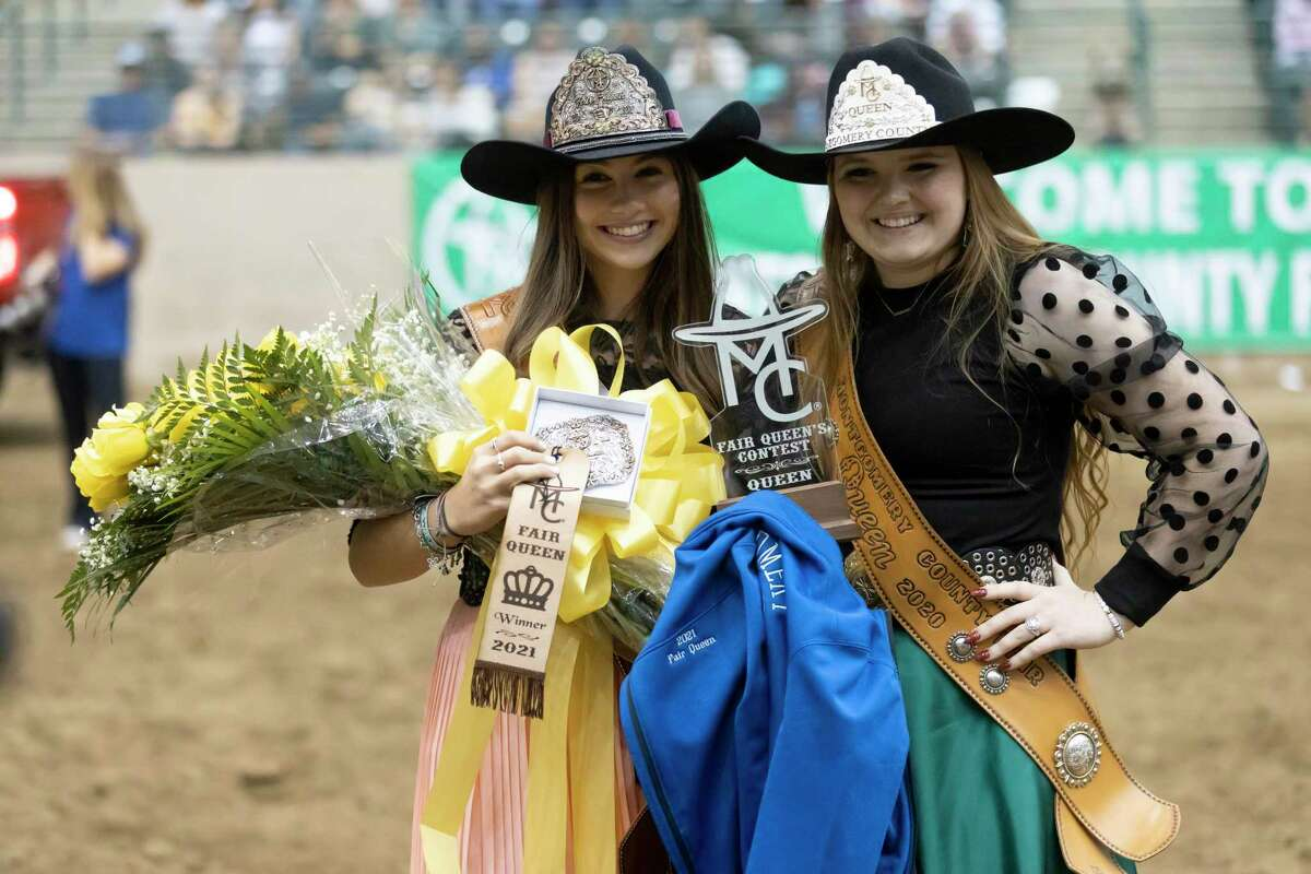 Morgan McGee, left, poses for a portrait with 2020 Fair Queen Danae Lesner, after she is crowned Fair Queen at the annual Montgomery County Fair and Rodeo, Saturday, April 10, 2021, in Conroe. Last year's crowning took place in a social distanced setting with limited crowds after the county fair was closed due to the COVID-19 pandemic.