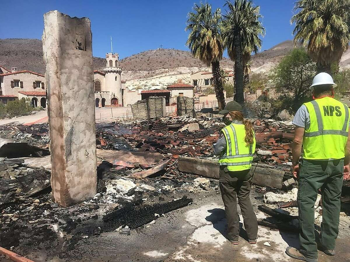 Two historic buildings at Scotty's Castle in Death Valley National Park were destroyed by fire Thursday.