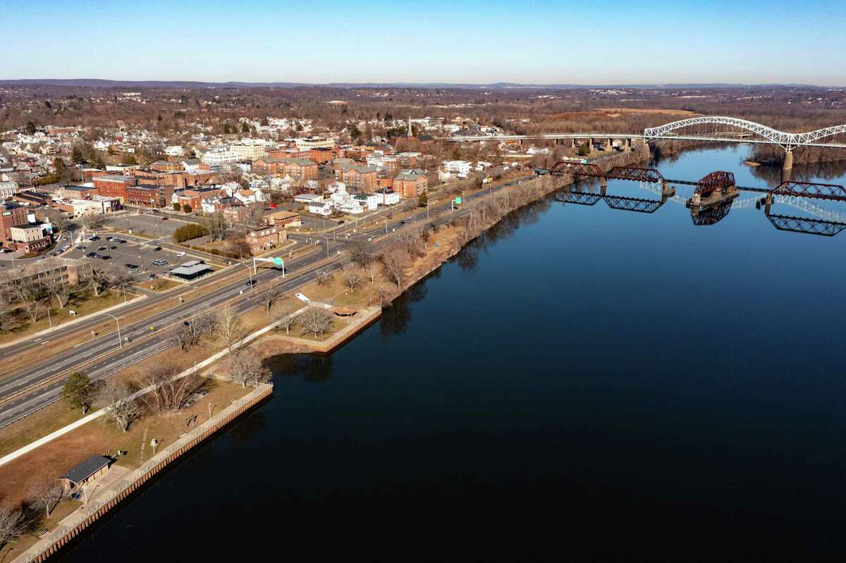 The Connecticut River runs along downtown Middletown.