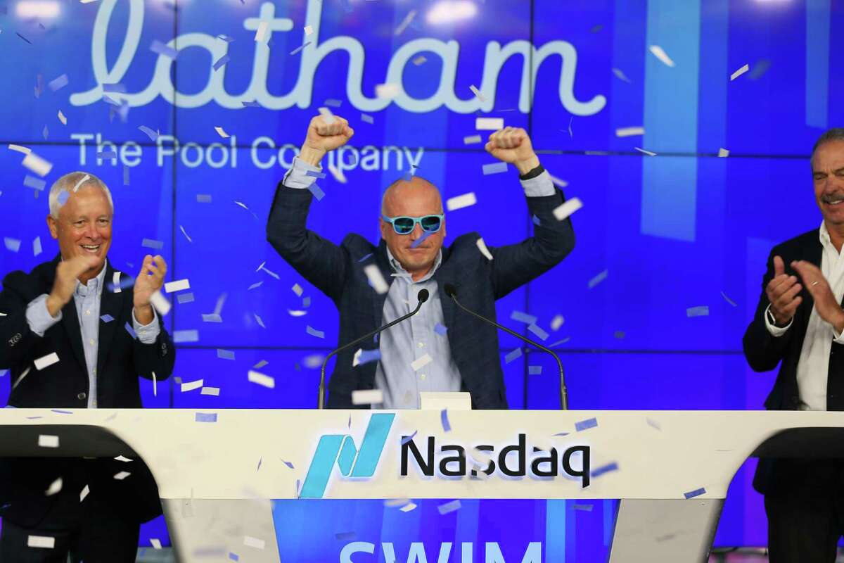 Latham Group CEO Scott Rajeski after rining the opening bell at the Nasdaq after taking the company public on Friday, Apil 23, 2021. Latham Group reported that sales tripled during the first quarter of 2021.