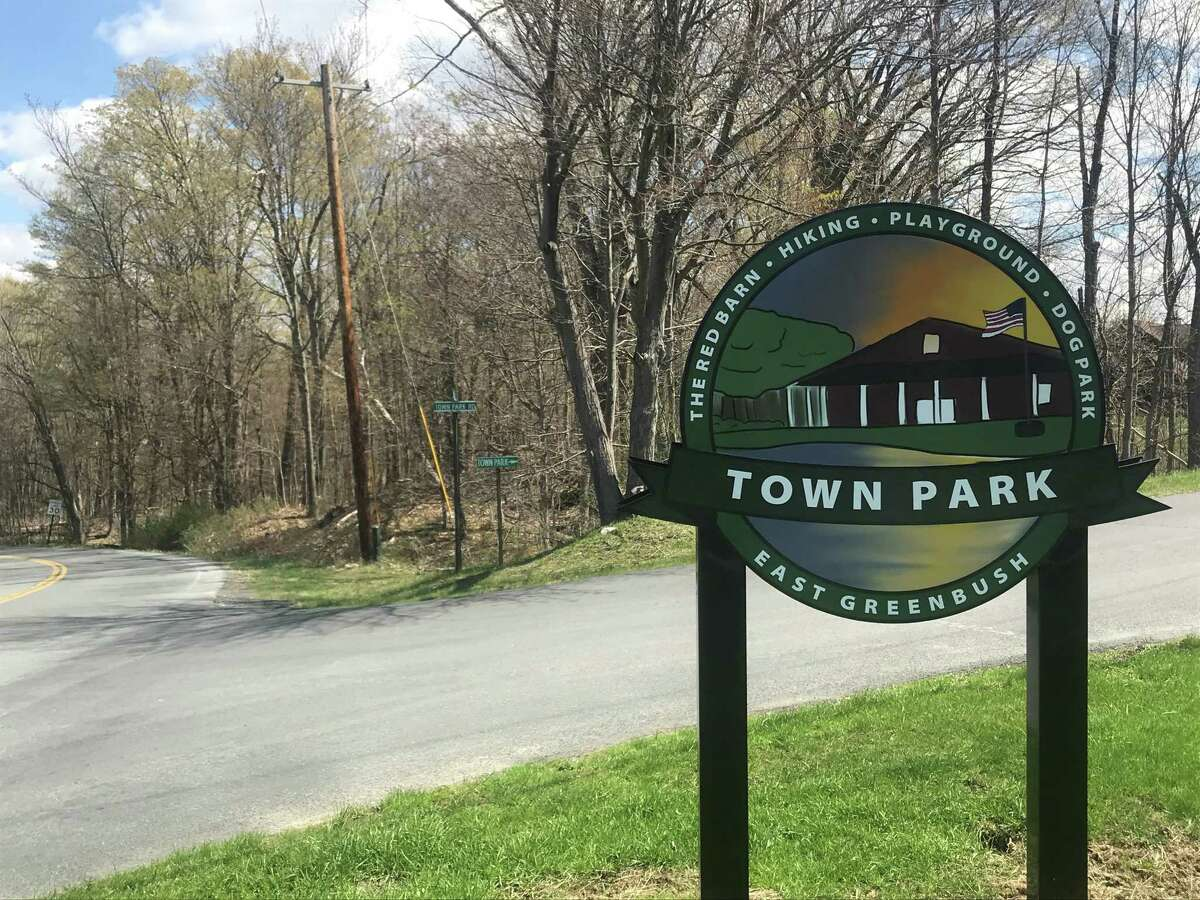 Sign at entrance to East Greenbush Town Park on Friday April 23, 2021