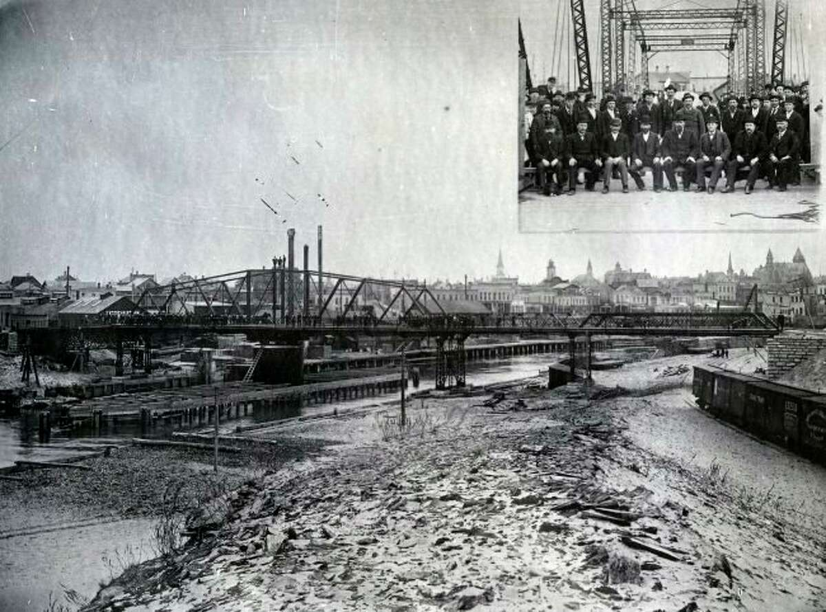 Manistee residents gathered in 1894 for a big celebration to dedicate the Smith Street Bridge. That bridge will be the subject of an upcoming virtual lecture by Mark Fedder, Manistee County Historic Museum executive director on April 27. (Manistee County Historical Museum photo)