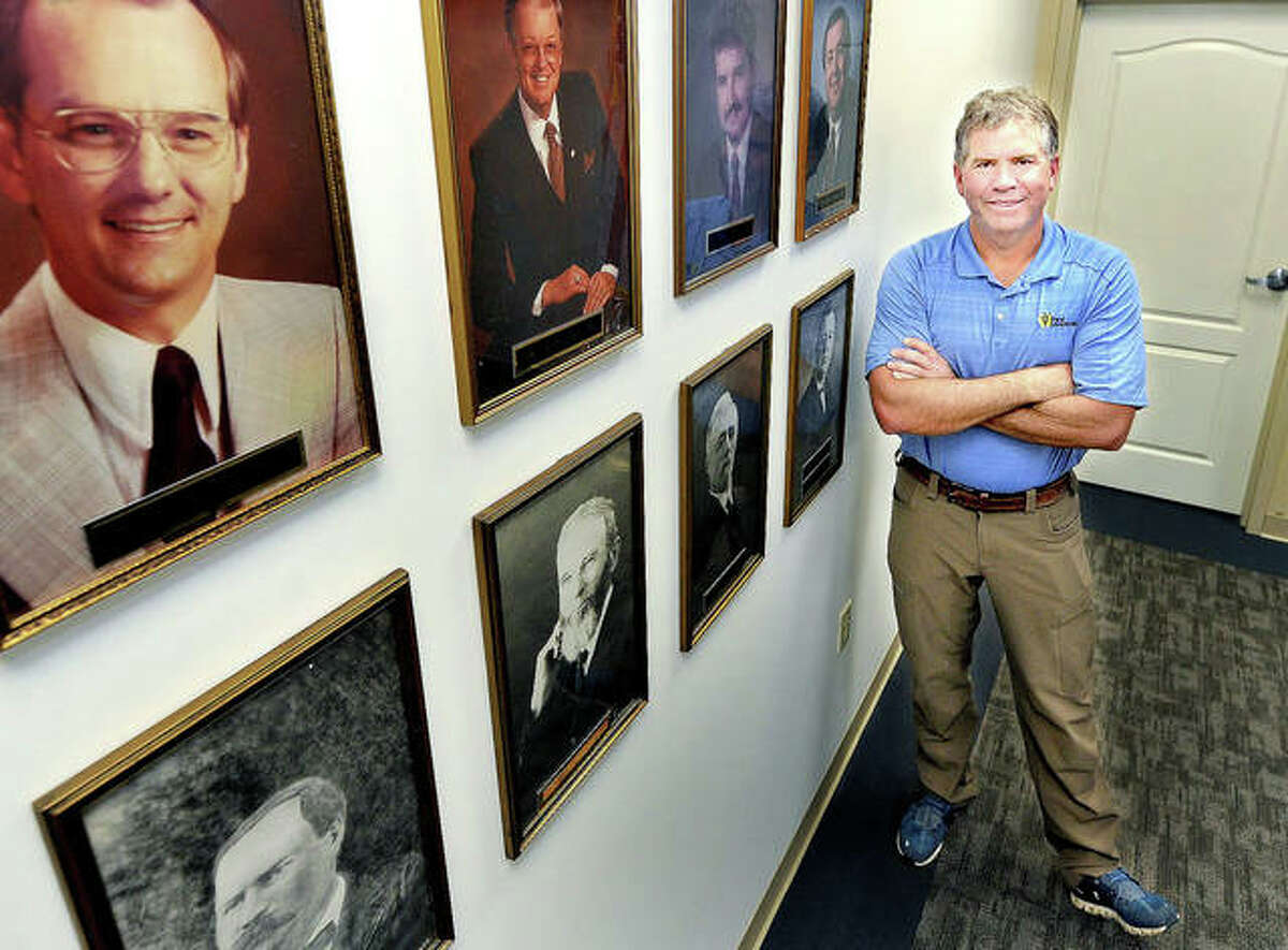 Mayor Hal Patton at Edwardsville City Hall, not far from the space on the wall where his photo will soon hang, along with all of the city's previous mayors, dating back to 1818.