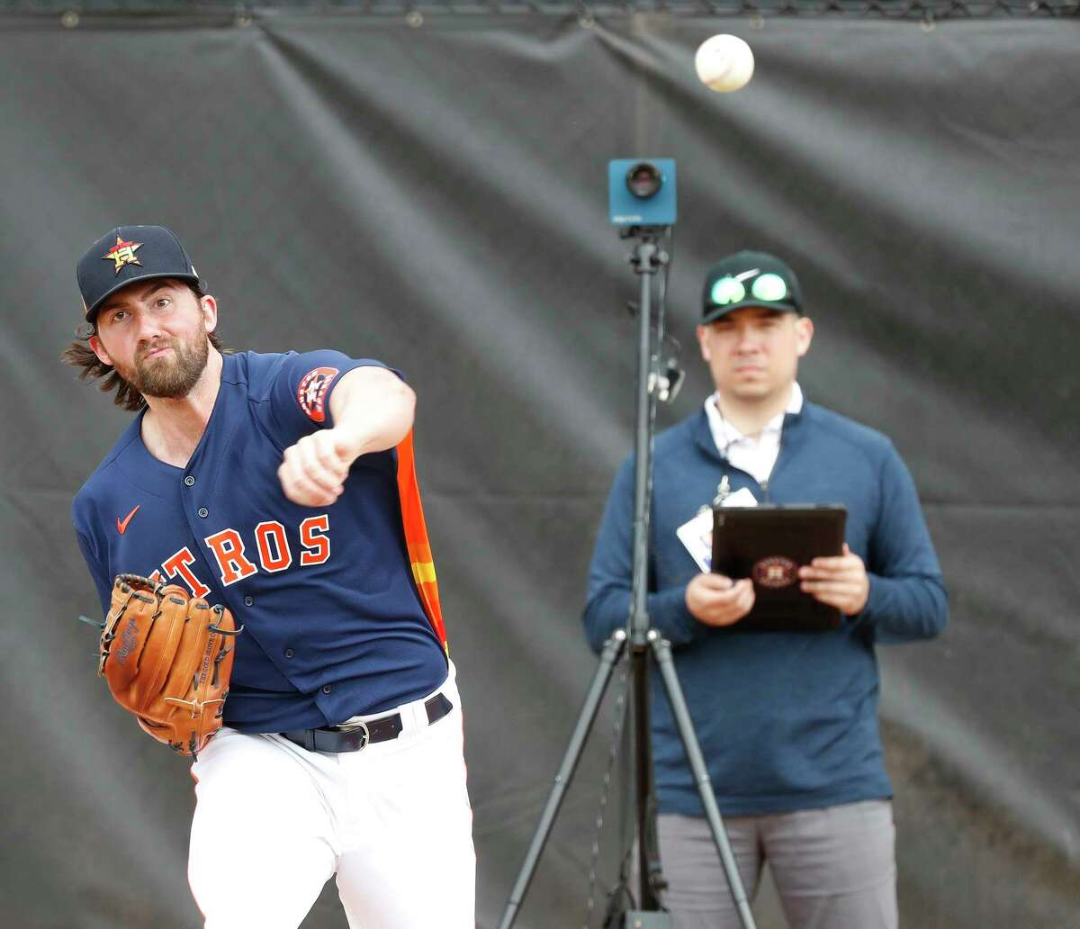 Houston Astros pitcher Kent Emanuel (64) during the Houston Astros spring training workouts at the Fitteam Ballpark of The Palm Beaches, in West Palm Beach , Sunday, Feb. 16, 2020.
