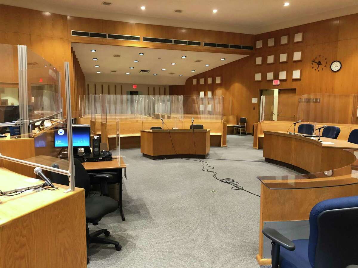 A courtroom at Bridgeport Superior Court is prepared for the restart of trials after the shutdown of all criminal trials in March 2020 due to the COVID-19 pandemic.