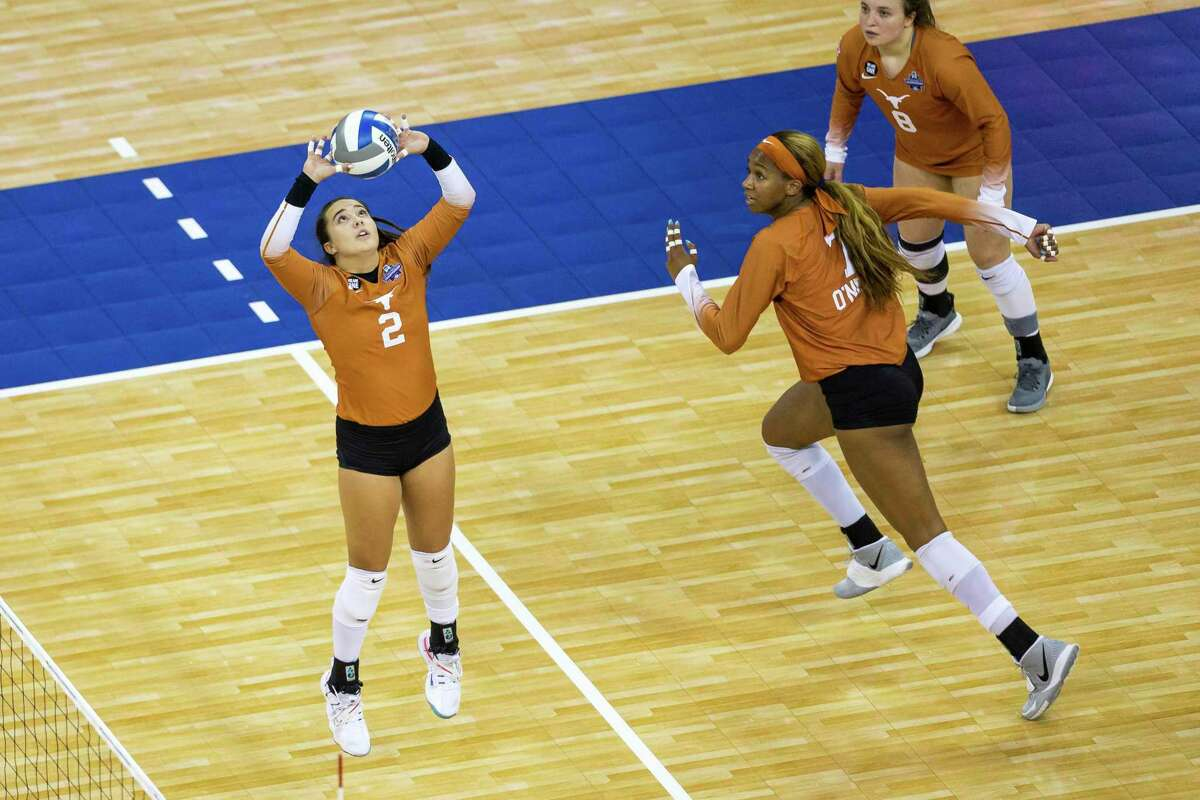 Texas' Jhenna Gabriel, setting the ball for Asjia O'Neal in the semifinals against Wisconsin, has grown in the Longhorns run to the title game.