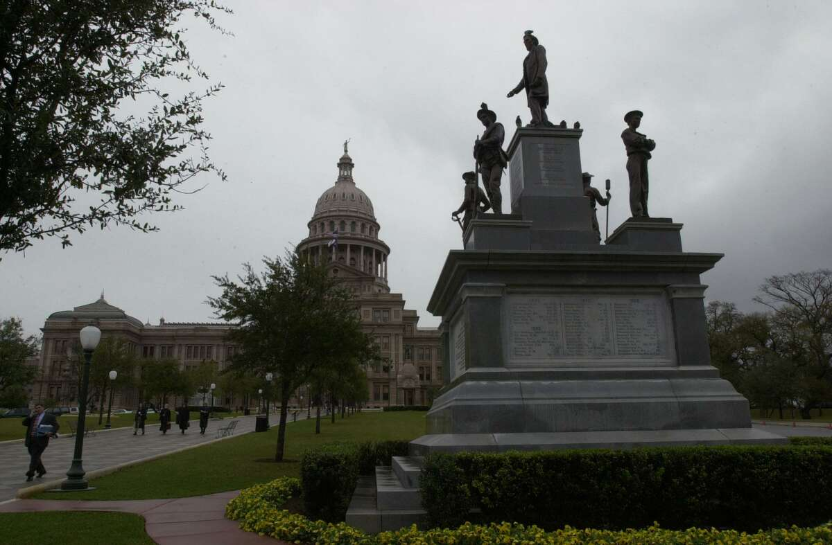 The Confederate Soldiers monument stands by the front entrance to the State Capitol in Austin. Reticence by some GOP officials to remove offensive names from geographic locations stems from worries that Confederate monuments may be next.