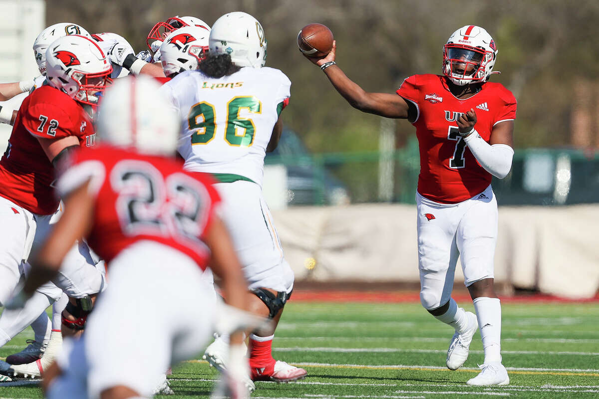 UIW quarterback Cameron Ward throws a pass during their first home game of the spring Southland Conference season against Southeastern Louisiana at Gayle and Tom Benson Stadium on Saturday, March 20, 2021.