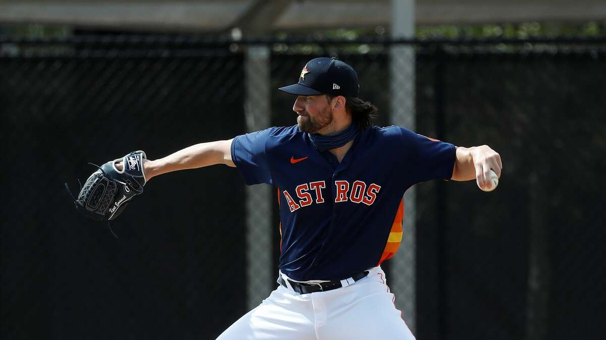 Houston Astros pitcher Kent Emanuel (72) during the third day of full-squad workouts for the Astros at Ballpark of the Palm Beaches in West Palm Beach, Florida, Wednesday, February 24, 2021.