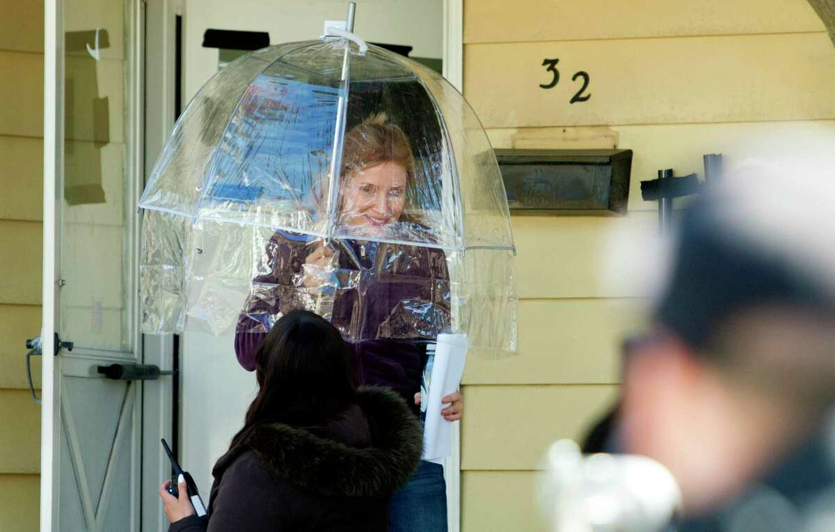 Actor Jessica Chastain exits the home used as a set for the upcoming Netfix movie