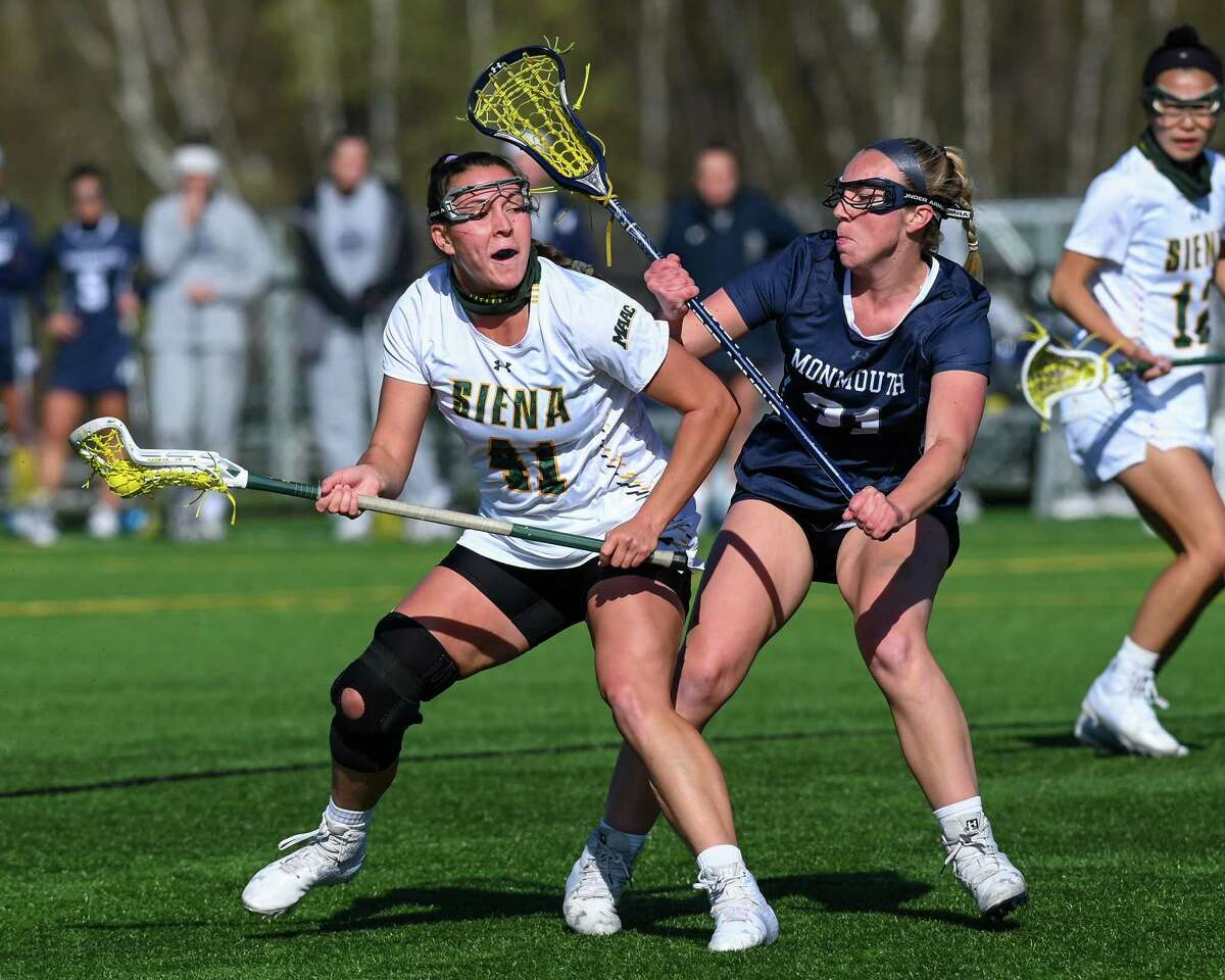 Siena fifth year student Annie Brennan, shown earlier this season against Monmouth, had two goals in a 12-8 loss to Fairfield in the MAAC championship game on May 9, 2021.(Jim Franco/Special to the Times Union)