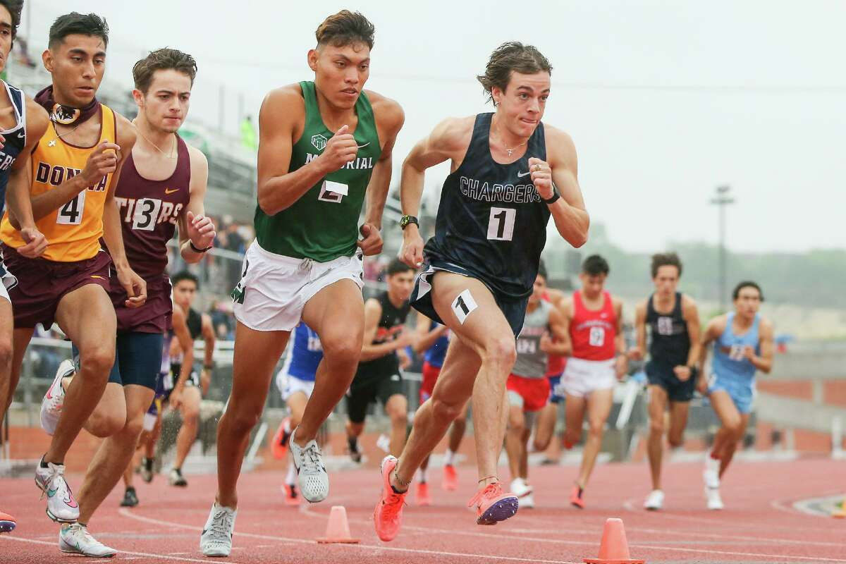 Boerne Champion's Foster Wilfong, front right, takes off from the starting line of the 5A boys 3200-meter run during the first day of the Region IV-6A/5A track and field championships at Heroes Stadium on Friday, April 23, 2021. Wilfong won the event with a meet record 9:09.68.