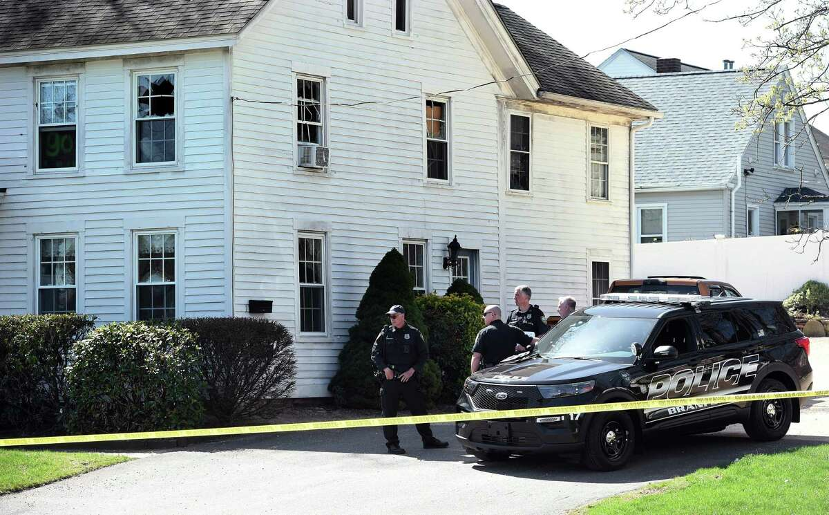 Branford Police investigate at 241 Main Str. on April 14, 2021, where they engaged fire with a shooter in a second-floor apartment the previous day.