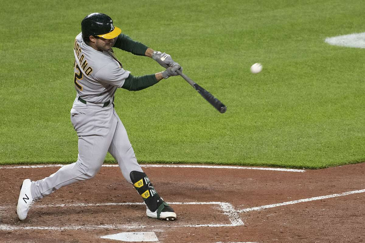 Oakland Athletics' Ramon Laureano hits a solo home run during the fifth inning of the team's baseball game against the Baltimore Orioles, Friday, April 23, 2021, in Baltimore. (AP Photo/Tommy Gilligan)