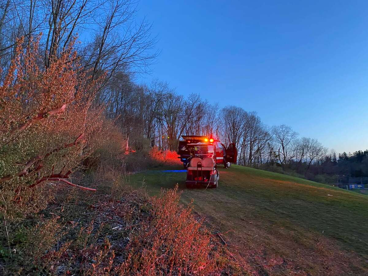 BROOKFIELD, Conn. - Crews with the Brookfield Volunteer Fire Company used a brush truck and all-terrain-vehicle to extinguish a brush fire started by illegal fireworks Friday, April 23, 2021. The fire spread to an area about one-and-a-half acres in size. There were no injuries reported.