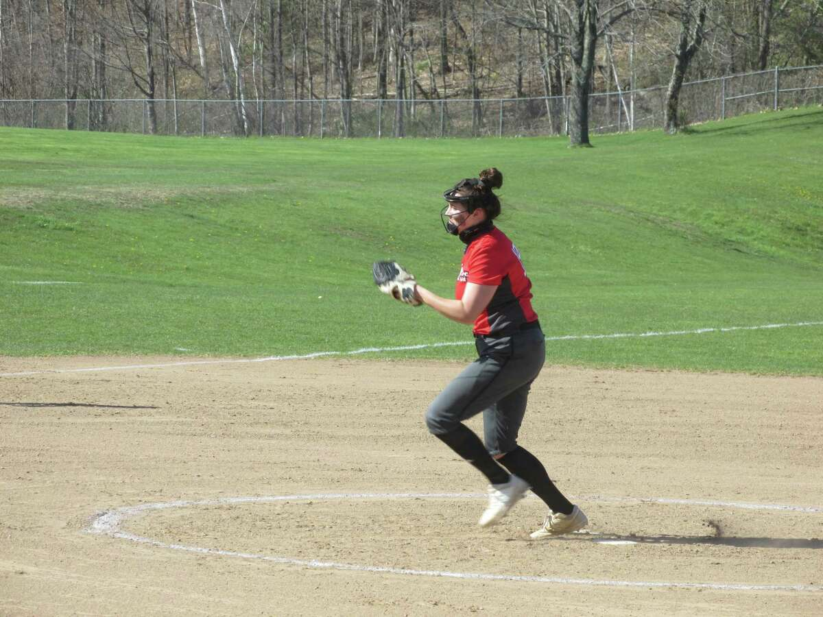 Highlander pitcher Ava Blanchard felt Thomaston's power but held strong for 10 strikeouts in Northwestern's win over Thomaston at Northwestern High School Friday afternoon.