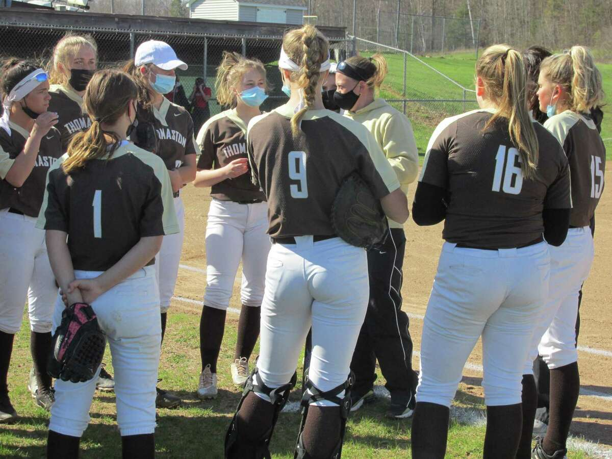 Thomaston coach Kelly Finlay rallied her team after Northwestern leaped to an early lead at Northwestern High School Friday afternoon.