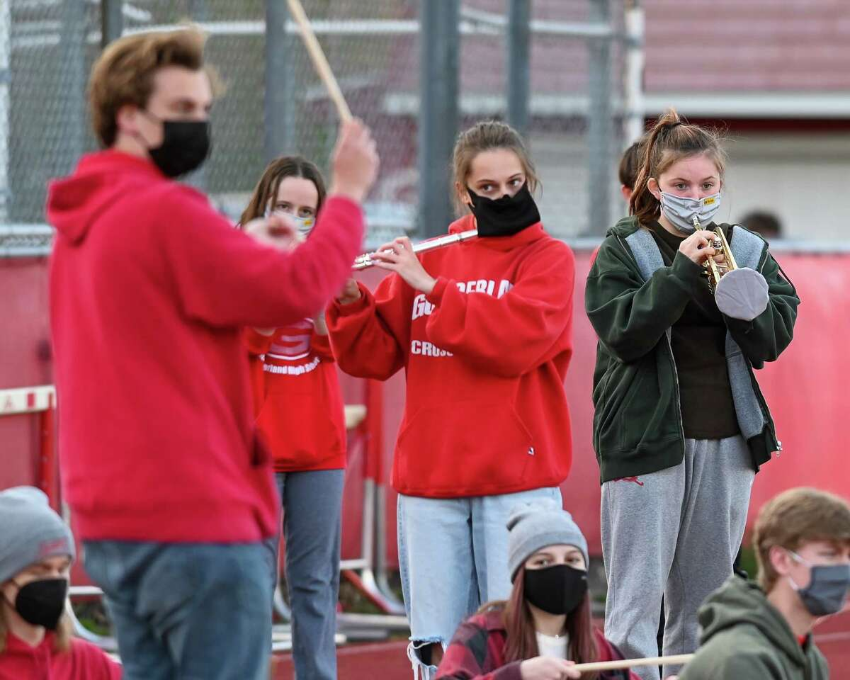 The Guilderland High School Band plays during a Class AA playoff game against Shenendehowa at Guilderland High School on Friday, April 23, 2021. (Jim Franco/Special to the Times Union)