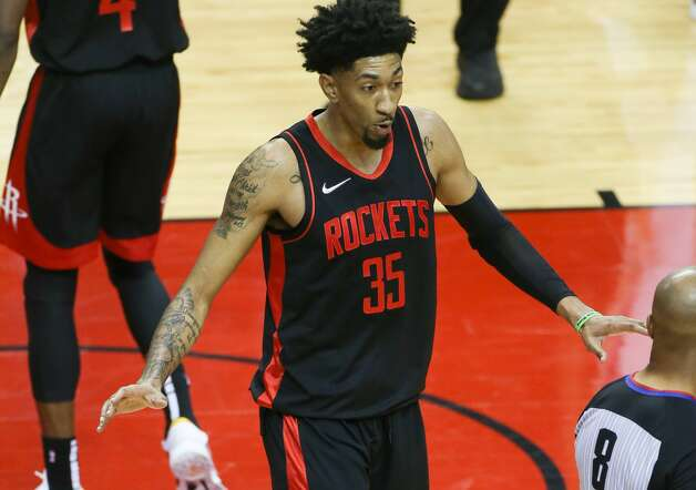 Houston Rockets center Christian Wood (35) disputes a foul call in the first half of game action against LA Clippers at the Toyota Center in Houston on Friday, April 23, 2021. Photo: Elizabeth Conley/Staff Photographer / © 2021 Houston Chronicle