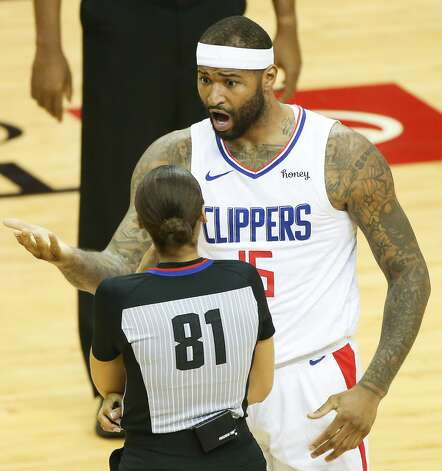 LA Clippers center DeMarcus Cousins (15) complains about a call in the first half as they take on the Houston Rockets at the Toyota Center in Houston on Friday, April 23, 2021. Photo: Elizabeth Conley/Staff Photographer / © 2021 Houston Chronicle