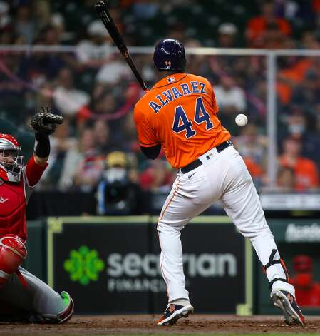 Houston Astros designated hitter Yordan Alvarez (44) gets hit by a pitch during the fourth inning of an MLB game against the Los Angeles Angels at Minute Maid Park on Friday, April 23, 2021, in Houston. Photo: Godofredo A Vásquez/Staff Photographer / © 2021 Houston Chronicle