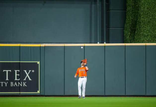 Houston Astros center fielder Myles Straw (3) makes an out against the Los Angeles Angels during the fourth inning of an MLB game at Minute Maid Park on Friday, April 23, 2021, in Houston. Photo: Godofredo A Vásquez/Staff Photographer / © 2021 Houston Chronicle
