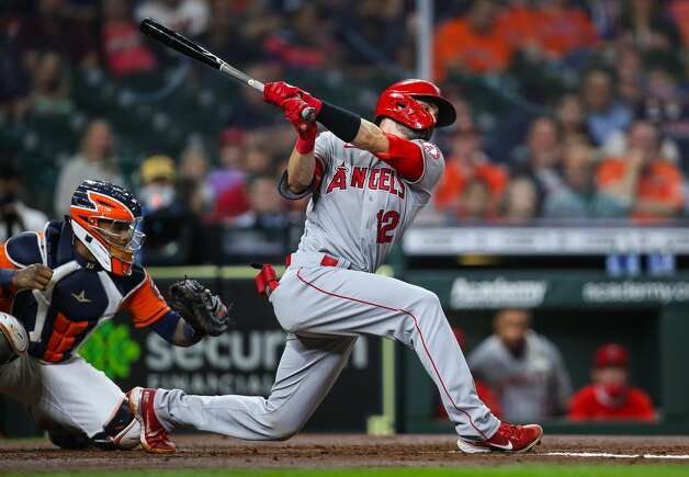 Los Angeles Angels catcher Anthony Bemboom (12) strikes out against the Houston Astros during the second inning of an MLB game at Minute Maid Park on Friday, April 23, 2021, in Houston. Photo: Godofredo A Vásquez/Staff Photographer / © 2021 Houston Chronicle