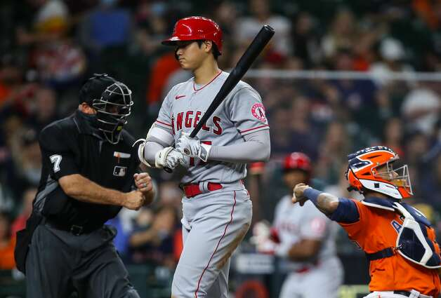 Los Angeles Angels designated hitter Shohei Ohtani (17) strikes out looking against the Houston Astros during the third inning of an MLB game at Minute Maid Park on Friday, April 23, 2021, in Houston. Photo: Godofredo A Vásquez/Staff Photographer / © 2021 Houston Chronicle