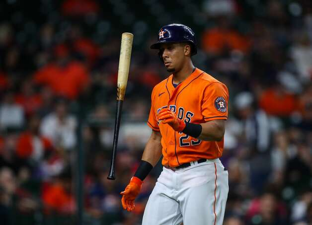 Houston Astros left fielder Michael Brantley (23) flips his bat after striking out against the Los Angeles Angels during the first inning of an MLB game at Minute Maid Park on Friday, April 23, 2021, in Houston. Photo: Godofredo A Vásquez/Staff Photographer / © 2021 Houston Chronicle