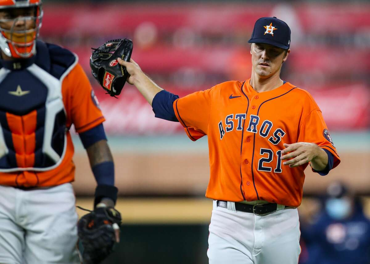 Houston Astros starting pitcher Zack Greinke (21) takes the field for the start of an MLB game against the Los Angeles Angels at Minute Maid Park on Friday, April 23, 2021, in Houston.