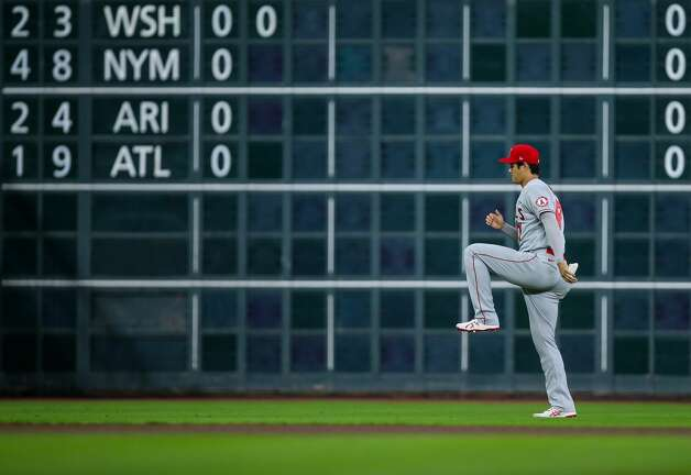 Los Angeles Angels designated hitter Shohei Ohtani (17) during warm-up before an MLB game against the Houston Astros at Minute Maid Park on Friday, April 23, 2021, in Houston. Photo: Godofredo A Vásquez/Staff Photographer / © 2021 Houston Chronicle