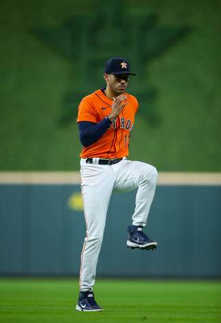 Houston Astros shortstop Carlos Correa (1) during warm-up before an MLB game against the Los Angeles Angels at Minute Maid Park on Friday, April 23, 2021, in Houston. Photo: Godofredo A Vásquez/Staff Photographer / © 2021 Houston Chronicle