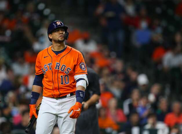 Houston Astros first baseman Yuli Gurriel (10) walks back to the dugout after striking out during the fourth inning of an MLB game against the Los Angeles Angels at Minute Maid Park on Friday, April 23, 2021, in Houston. Photo: Godofredo A Vásquez/Staff Photographer / © 2021 Houston Chronicle