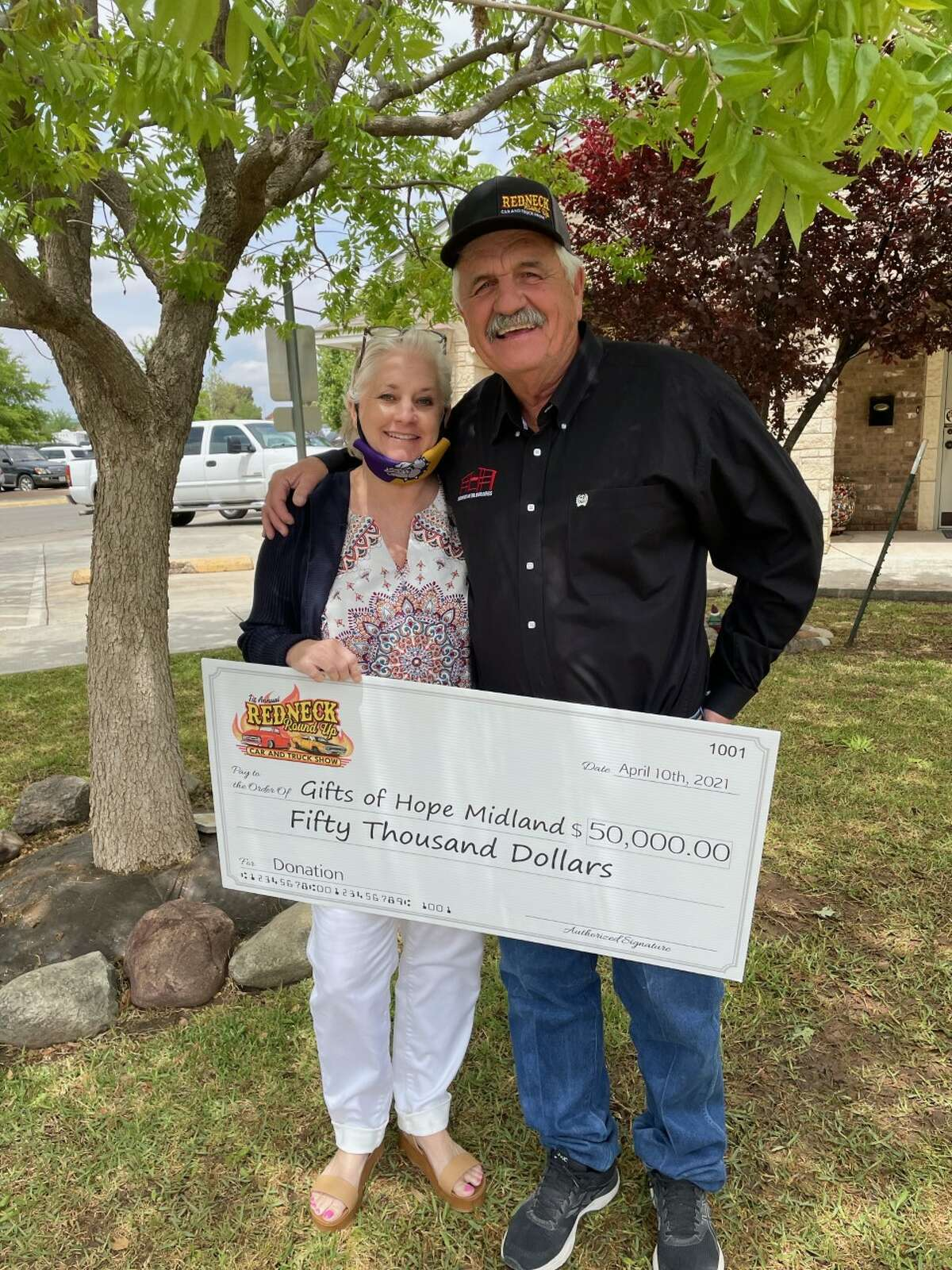 A $50,ooo donation check was presented to Gifts of Hope nonprofit Friday at the Hope House. The check was presented by Clarence Sauer, owner of Redneck Metal Buildings and Construction. Sauer created the Redneck Roundup Car and Truck Show that happened on April 10.