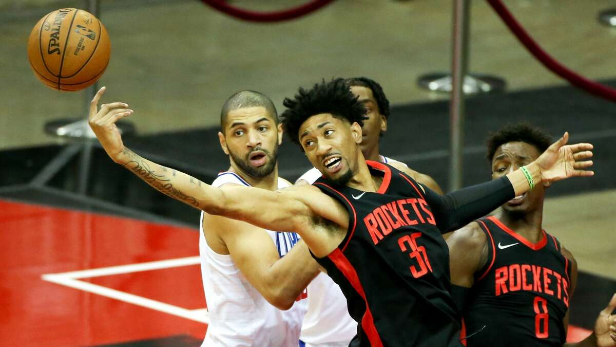Houston Rockets center Christian Wood (35) reaches for an offensive rebound against LA Clippers at the Toyota Center in Houston on Friday, April 23, 2021.