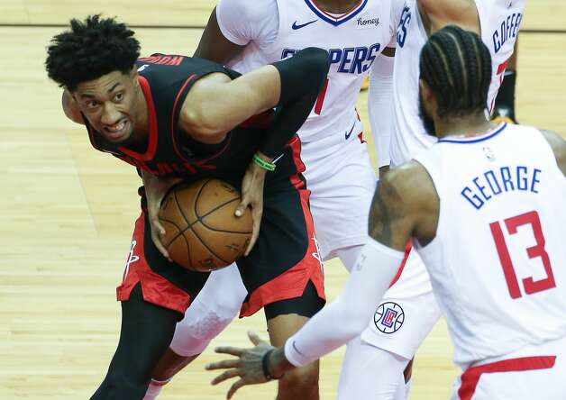 Houston Rockets center Christian Wood (35) looks for a way to the basket against LA Clippers defense at the Toyota Center in Houston on Friday, April 23, 2021. LA Clippers won the game 109-104. Photo: Elizabeth Conley/Staff Photographer / © 2021 Houston Chronicle