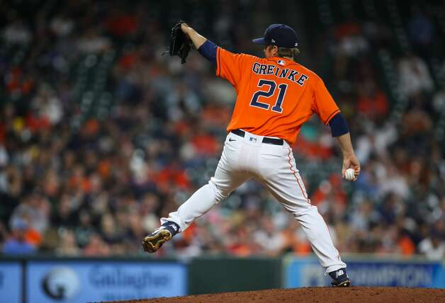 Houston Astros starting pitcher Zack Greinke (21) throws against the Los Angeles Angels during the seventh inning of an MLB game at Minute Maid Park on Friday, April 23, 2021, in Houston. Photo: Godofredo A Vásquez/Staff Photographer / © 2021 Houston Chronicle