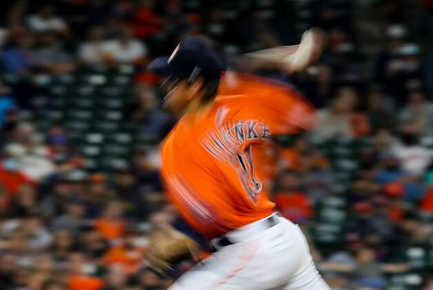 Houston Astros starting pitcher Zack Greinke (21) throws the ball for a strike out against the Los Angeles Angels during the sixth inning of an MLB game at Minute Maid Park on Friday, April 23, 2021, in Houston. Photo: Godofredo A Vásquez/Staff Photographer / © 2021 Houston Chronicle