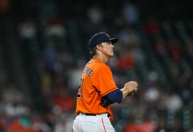 Houston Astros starting pitcher Zack Greinke (21) after getting a double play against the Los Angeles Angels during the seventh inning of an MLB game at Minute Maid Park on Friday, April 23, 2021, in Houston. Photo: Godofredo A Vásquez/Staff Photographer / © 2021 Houston Chronicle