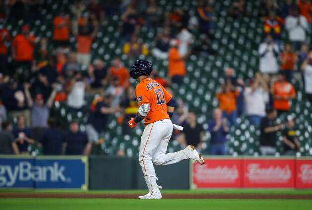 Houston Astros first baseman Yuli Gurriel (10) rounds the bases after hitting a two-RBI home run against the Los Angeles Angels during the seventh inning of an MLB game at Minute Maid Park on Friday, April 23, 2021, in Houston. Photo: Godofredo A Vásquez/Staff Photographer / © 2021 Houston Chronicle