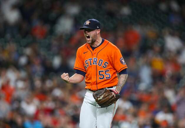 Houston Astros relief pitcher Ryan Pressly (55) reacts after striking out Los Angeles Angels catcher Anthony Bemboom (12) for the third out in the ninth inning of an MLB game at Minute Maid Park on Friday, April 23, 2021, in Houston. Photo: Godofredo A Vásquez/Staff Photographer / © 2021 Houston Chronicle