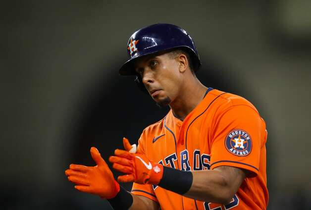 Houston Astros left fielder Michael Brantley (23) celebrates after hitting a single against the Los Angeles Angels during the ninth inning of an MLB game at Minute Maid Park on Friday, April 23, 2021, in Houston. Photo: Godofredo A Vásquez/Staff Photographer / © 2021 Houston Chronicle