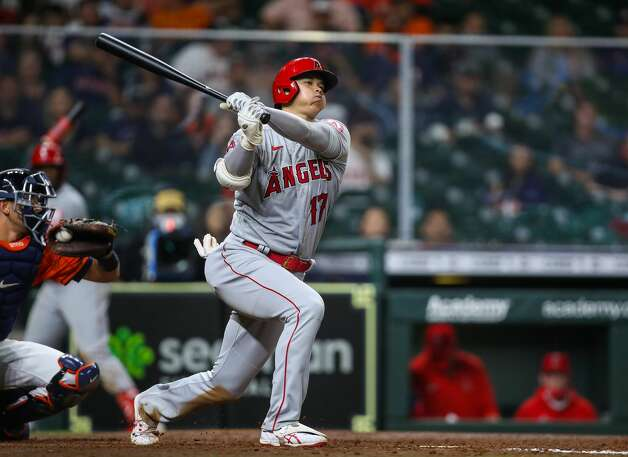Los Angeles Angels designated hitter Shohei Ohtani (17) strikes out swinging against the Houston Astros during the 10th inning of an MLB game at Minute Maid Park on Friday, April 23, 2021, in Houston. The Astros won 5-4. Photo: Godofredo A Vásquez/Staff Photographer / © 2021 Houston Chronicle