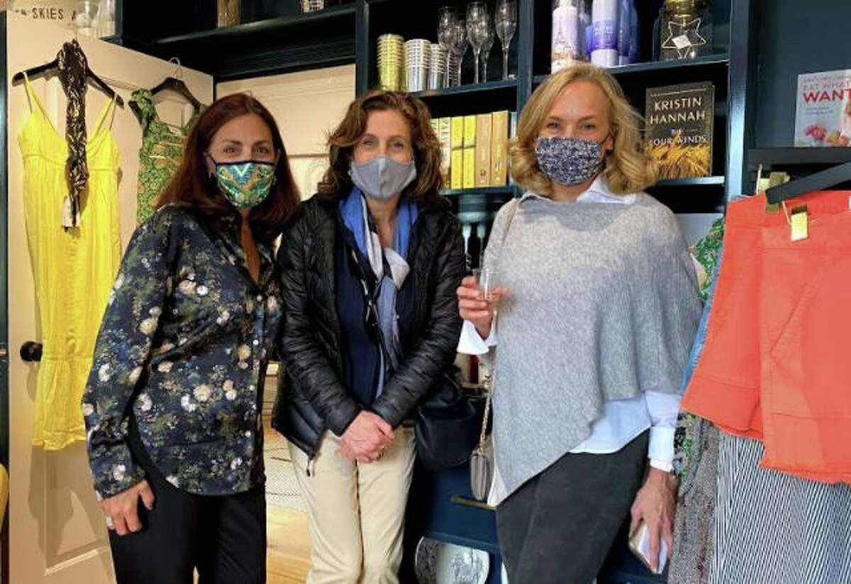 From left, Lisa Lori, owner of the Perfect Provenance, with Carla Fabiani and Janine Kennedy at Kids in Crisis benefit held at the store on April 17.