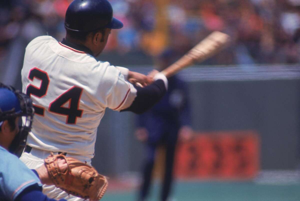 Mays swings during a game circa the 1970s at Candlestick Park, where many great hitters began to feel a bit unwell.