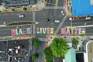 A Black Lives Matter mural was painted in downtown Stamford, Connecticut. July 19, 2020. Sixteen African-American, Fairfield County-based artists spearheaded the mural project, curated by Picture That art consultancy.