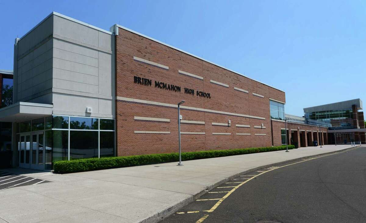 A file photo of the exterior of the Brien McMahon High School in Norwalk, Conn.